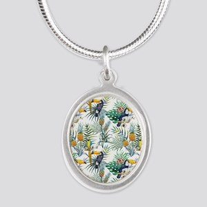Vintage Chic Pinapple Tropica Silver Oval Necklace