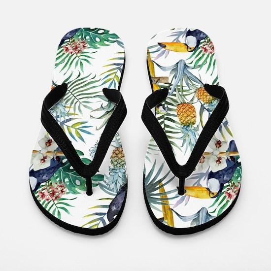Vintage Chic Pinapple Tropical Hibiscus Flip Flops
