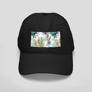 Vintage Chic Pinapple Tropical Hibiscus Black Cap
