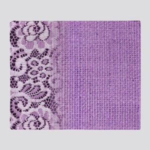country chic purple burlap lace Throw Blanket