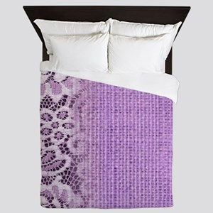 country chic purple burlap lace Queen Duvet