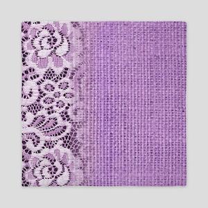 country chic purple burlap lace Queen Duvet