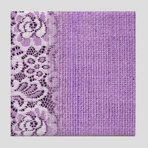 country chic purple burlap lace Tile Coaster