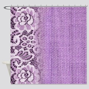 country chic purple burlap lace Shower Curtain