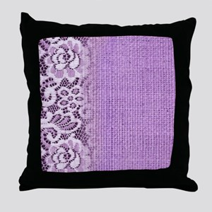 country chic purple burlap lace Throw Pillow