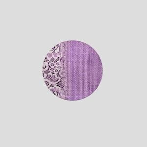 country chic purple burlap lace Mini Button
