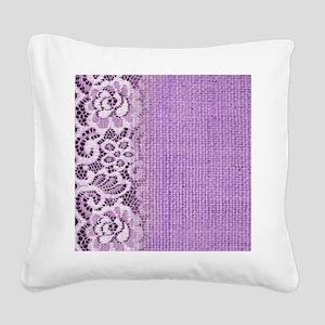 country chic purple burlap la Square Canvas Pillow