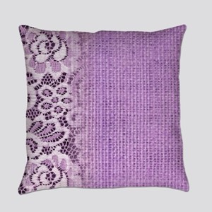 country chic purple burlap lace Everyday Pillow