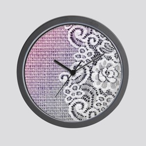 country chic purple burlap lace Wall Clock