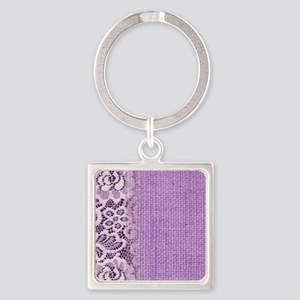 country chic purple burlap lace Square Keychain