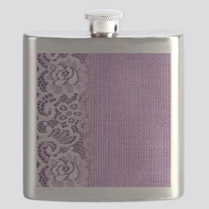 country chic purple burlap lace Flask