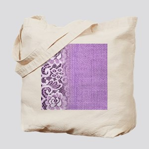 country chic purple burlap lace Tote Bag