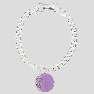 country chic purple burl Charm Bracelet, One Charm