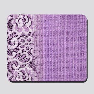 country chic purple burlap lace Mousepad