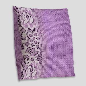 country chic purple burlap lac Burlap Throw Pillow