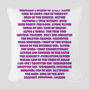 Titles of Jesus Christ Woven Throw Pillow