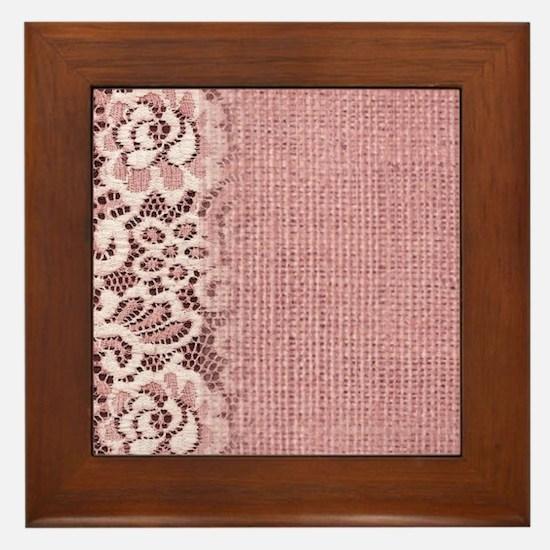 rustic pink burlap lace Framed Tile