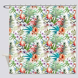 Vintage Chic Tropical Hibiscus Flor Shower Curtain