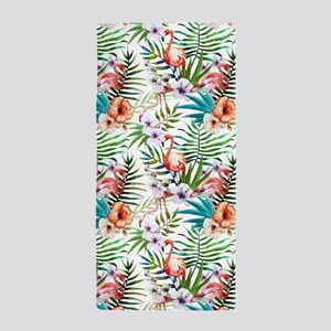 Vintage Chic Tropical Hibiscus Floral Beach Towel