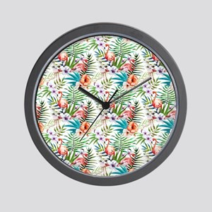 Vintage Chic Tropical Hibiscus Floral Wall Clock