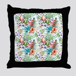 Vintage Chic Tropical Hibiscus Floral Throw Pillow