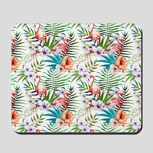 Vintage Chic Tropical Hibiscus Floral Mousepad