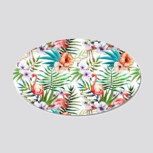 Vintage Chic Tropical Hibisc 20x12 Oval Wall Decal