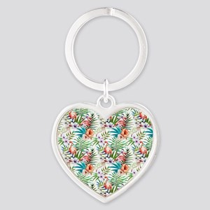 Vintage Chic Tropical Hibiscus Flor Heart Keychain