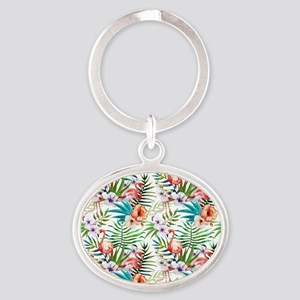 Vintage Chic Tropical Hibiscus Flora Oval Keychain