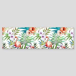 Vintage Chic Tropical Hibiscus Fl Sticker (Bumper)