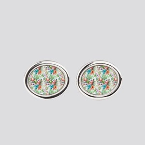 Vintage Chic Tropical Hibiscus Flor Oval Cufflinks