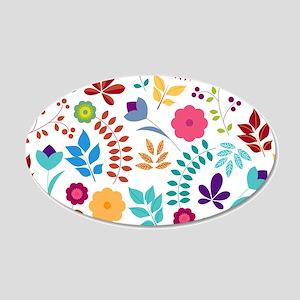 Cute Whimsical Floral Boho C 20x12 Oval Wall Decal
