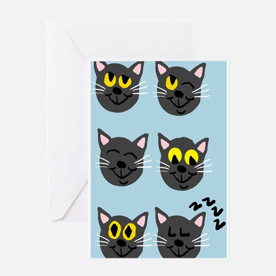 Black Cat faces Greeting Cards