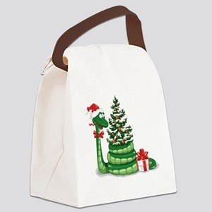 CUTE Christmas Snake Canvas Lunch Bag