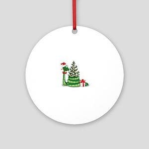 CUTE Christmas Snake Round Ornament