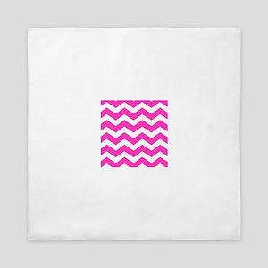 Hot Pink Chevron zig zag pattern Queen Duvet