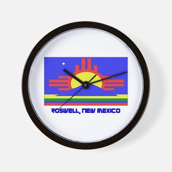 Roswell NM Flag Wall Clock