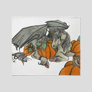 Bat winged Unicorn protecting a pump Throw Blanket