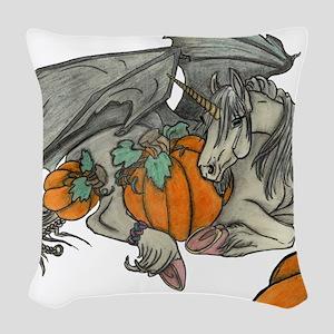 Bat winged Unicorn protecting Woven Throw Pillow