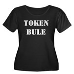Token Bule Women's Plus Size Scoop Neck Dark T-Shi