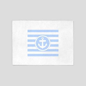 Light Blue Anchor and stripes 5'x7'Area Rug