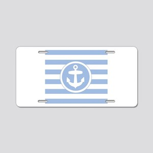 Blue Anchor and stripes Aluminum License Plate
