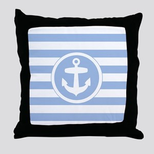 Blue Anchor and stripes Throw Pillow