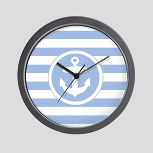 Blue Anchor and stripes Wall Clock
