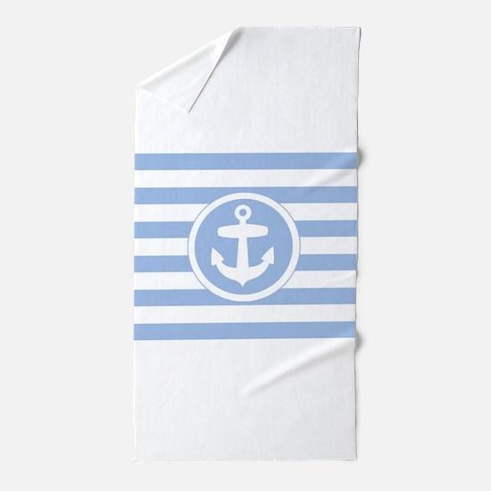 Blue Anchor and stripes Beach Towel