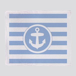 Blue Anchor and stripes Throw Blanket