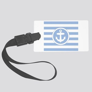 Blue Anchor and stripes Large Luggage Tag