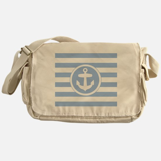 Blue Anchor and stripes Messenger Bag