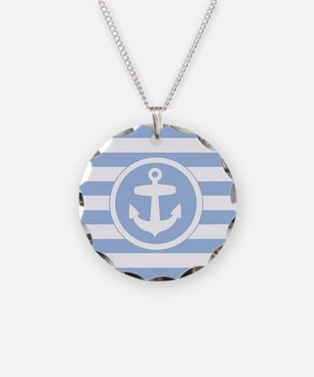 Blue Anchor and stripes Necklace