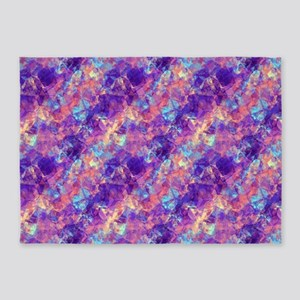 Violet Crumpled Pattern Abstract 5'x7'Area Rug